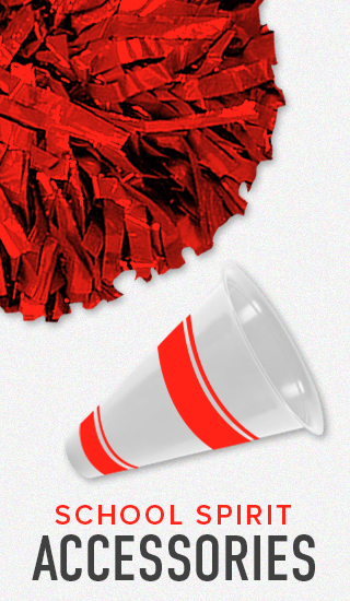 Picture of pom pom and megaphone. Click to shop School Spirit Accessories.